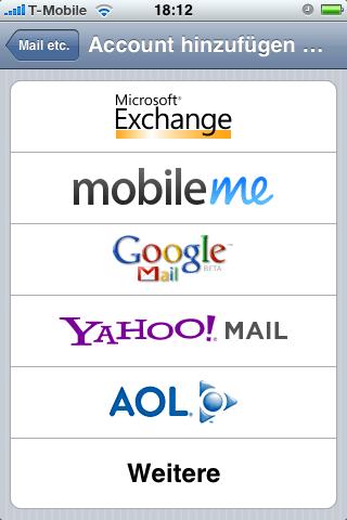 für deutschen Markt modifizierte Variante der iPhone-Mail-Einstellungen mit Googlemail