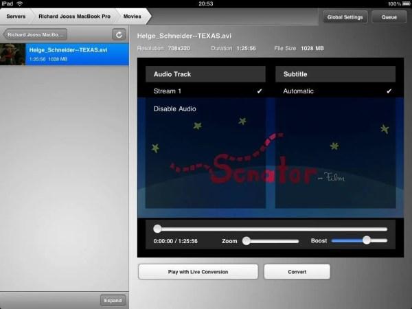Air Video - Einstellungen-Dialog am iPad