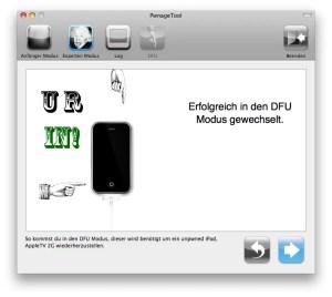 PwnageTool zeigt erfolgreichen Vollzug in den DFU-Modus