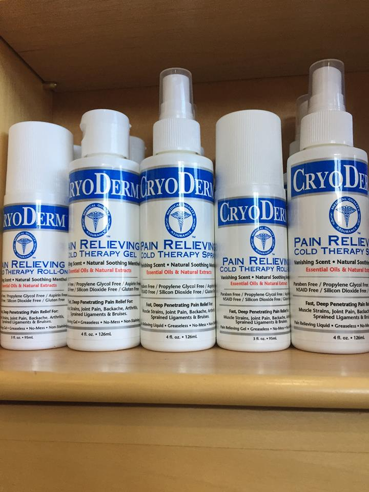 We carry Cryoderm Roll-On, Spray, Gel and Magnesium Calming Cream. Cryoderm combines all natural ingredients for a calming muscle relaxing pain relief when applied.