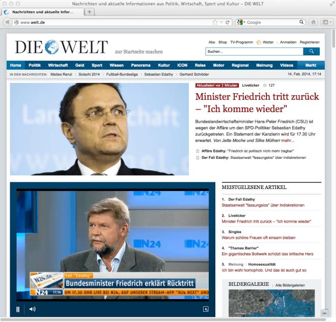 14.02.2014: Ministerrücktritt – auf Welt auch als Livestream