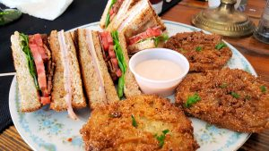Laniers Club Sandwich and Fried Green Tomatoes