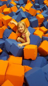 Climbing on the blocks is great exercise for the little ones! Photo courtesy Lauren Deal.