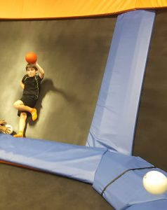 Even the walls are made of trampoline pads, so kids can bounce off of them, too! Photo courtesy Lauren Deal.