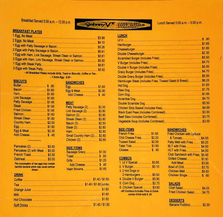 Johnny Vs Macon menu
