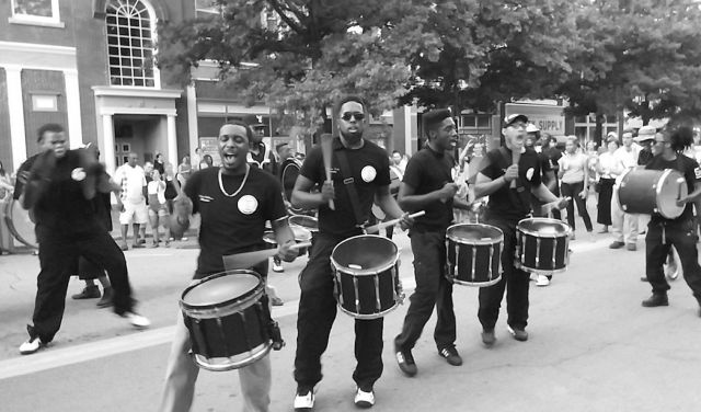Streetline members playing drums during the Bragg Jam in downtown Macon.
