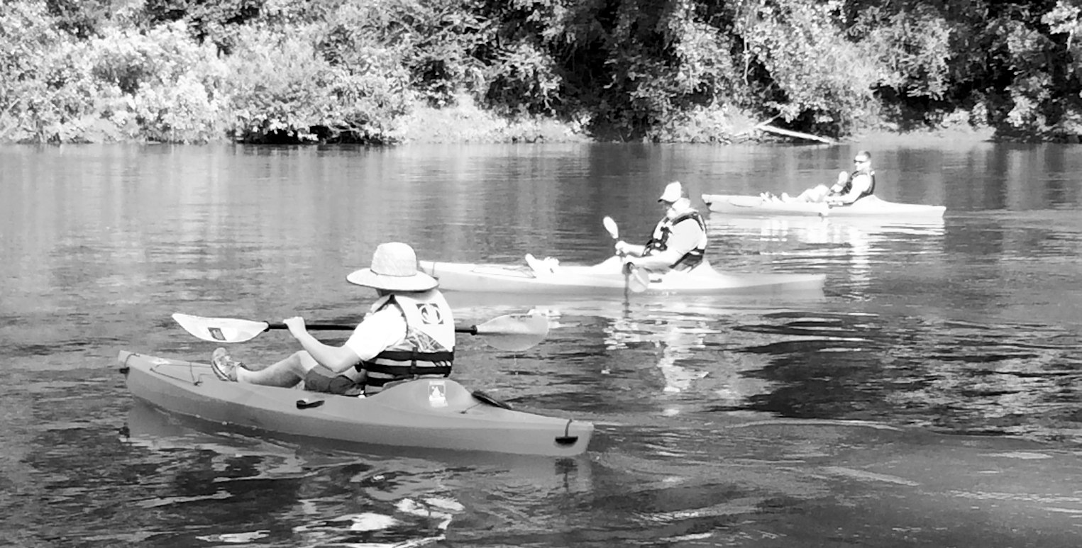 3 men in kayaks - Ocmulgee River Expeditions