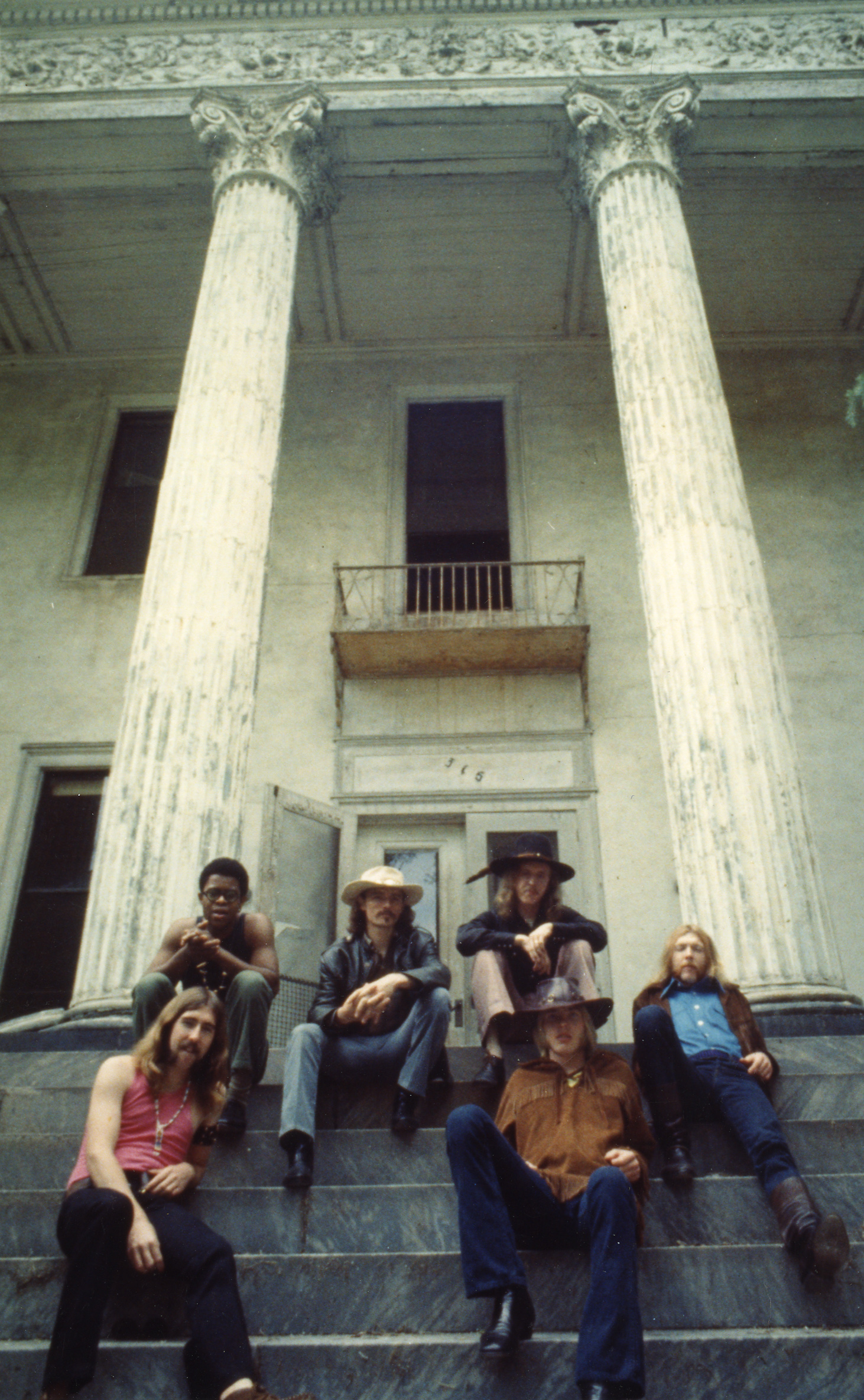 The Allman Brothers posing in front of The Bell Building. Photo courtesy the Twiggs Lyndon Estate, provided by the Big House Museum.