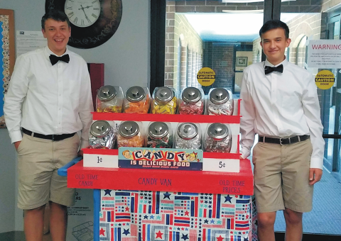 Ben and Kendall and their candy cart