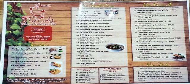 Pho Cali front of menu