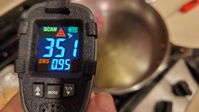 Testing the temperature of the pan