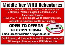 Welsh Rugby Debentures for Sale