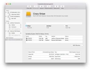 Das fertige RAID wird im Festplatten-Dienstprogramm angezeigt.