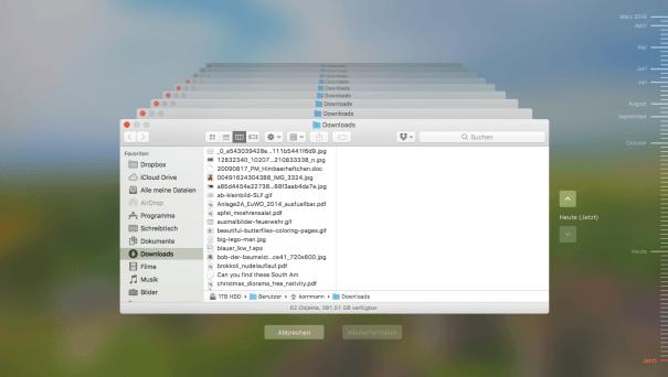 Time Machine im Finder von macOS Sierra