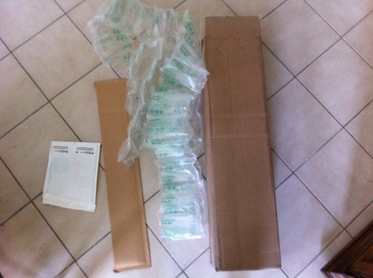 The two packages and two dozen air bags that came out of the large box.