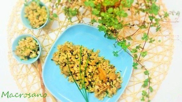 Ensalada templada de cebada y shiitake