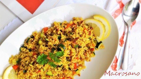Paella de arroz integral