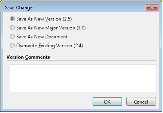 MacroView AOI displays familiar version control options as you close a document that you have opened and checked out from a SharePoint document library. Screen shots shows the dialog displayed by MacroView AOI when working with a library that has Major and Minor (Draft) Versions configured.