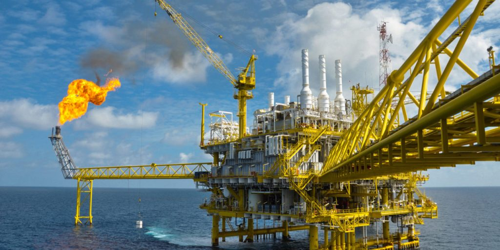 Oil and gas platform with gas burning 164604326 1280x640