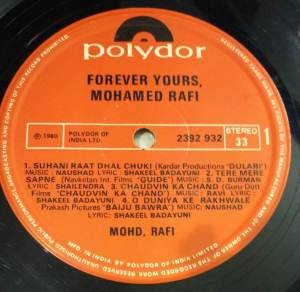 Forever Yours Hindi Film LP Vinyl Record by Mohamed Rafi www.macsendisk.com 2