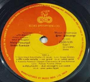 Mella Pesungal Tamil Film EP Vinyl Record by Ilayaraaja www.macsendisk.com 1
