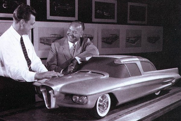 1958 Edsel E 196 X concept clay model with George Walker at right