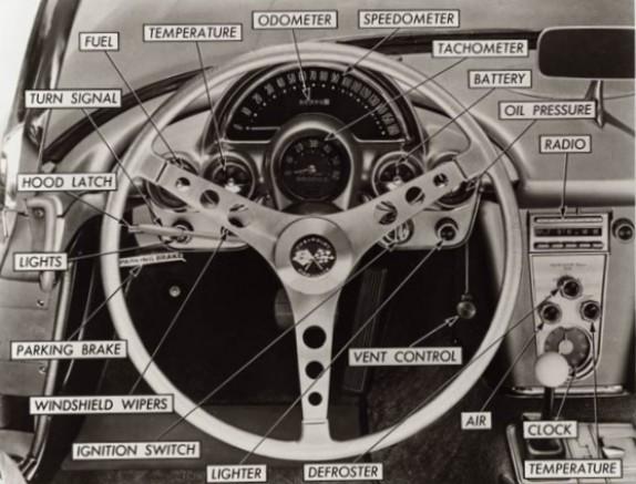 1958 Corvette instrument panel graphic