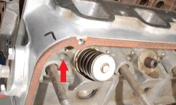 cylinder head pushrod bore