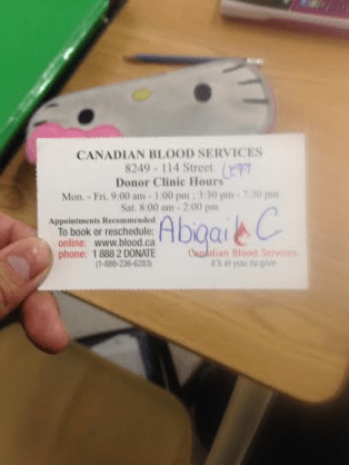 Abigail's donor card