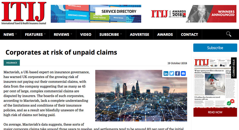 ITIJ – 'Corporates at risk of unpaid claims'