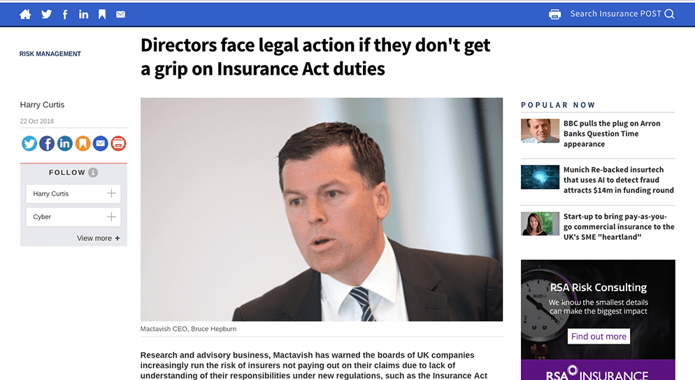 "The Insurance Post – ""Directors face legal action"""