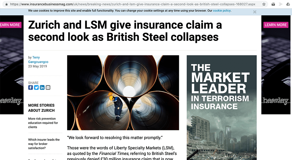 Zurich and LSM give insurance claim a second look as British Steel collapses