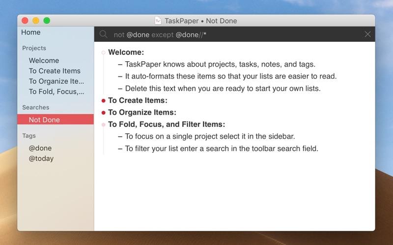 TaskPaper – Plain text to-dos Screenshot 2