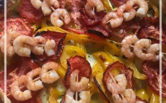 Tarte aux légumes et crevettes