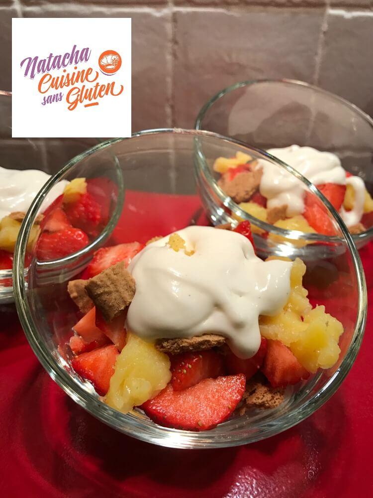 Verrines fraises citron speculos sans gluten
