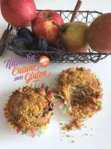 Muffins crumble aux prunes sans gluten