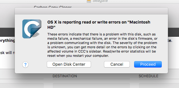 """OS X is reporting read or write errors on """"Macintosh HD"""""""
