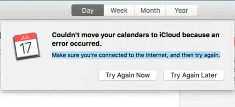 Couldn't move calendars to iCloud error message