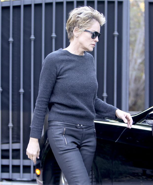 EXCLUSIVE: INF - Sharon Stone steps out with undone hair
