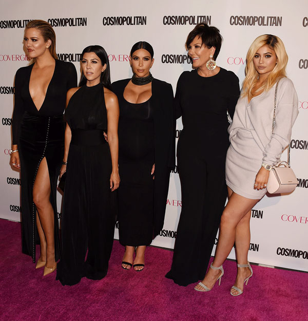 NO JUST JARED USAGE Cosmopolitan Magazine's 50th Birthday Celebration - Arrivals Pictured: Khloe Kardashian; Kourtney Kardashian; Kim Kardashian; Kris Jenn Ref: SPL1150920 131015 Picture by: Splash News Splash News and Pictures Los Angeles: 310-821-2666 New York: 212-619-2666 London: 870-934-2666 photodesk@splashnews.com