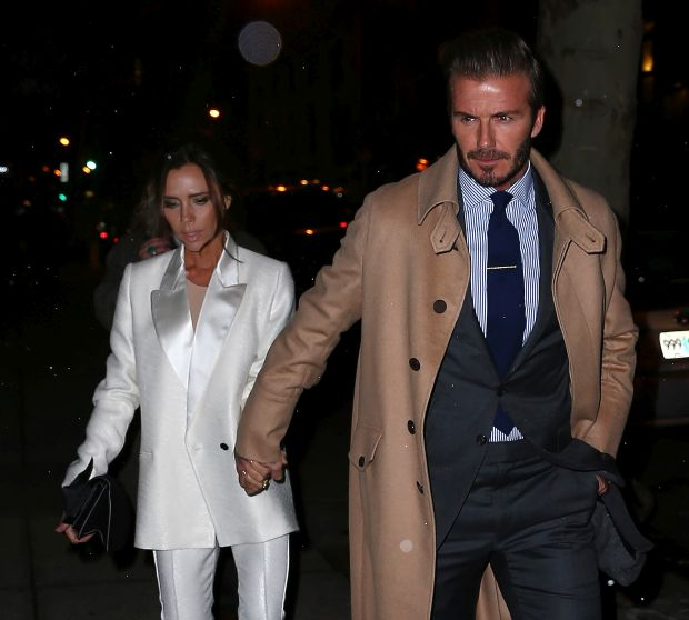 Victoria Beckham and David Beckham go to a pre-Valentine's dinner hand-in-hand in NYC.Pictured: Victoria Beckham and David BeckhamRef: SPL1222878  080216  Picture by: Jackson Lee / Splash NewsSplash News and Pictures</B