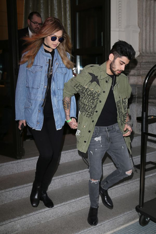EXCLUSIVE: Gigi Hadid and Zayn Malik seen leaving their hotel in Milan, Italy