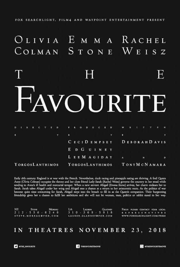 αφίσα της νέας ταινίας του Λάνθιμου The Favourite