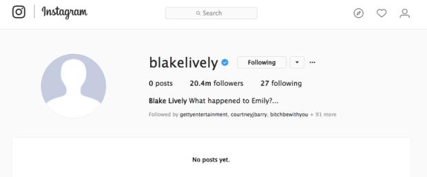 Blake Lively διέγραψε τα πάντα από το Instagram