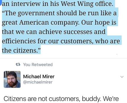 People are NOT the Customers of the Government