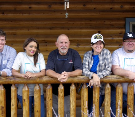 Catron County Cleanup crew. From Left: President of Young Democrats of Grant County Thomas Durham, NMDP Vice-Chair Neomi Martinez, Catron County Chair Ray Messier, Mad Hildebrandt, NMDP Organizer Luis Guerrero