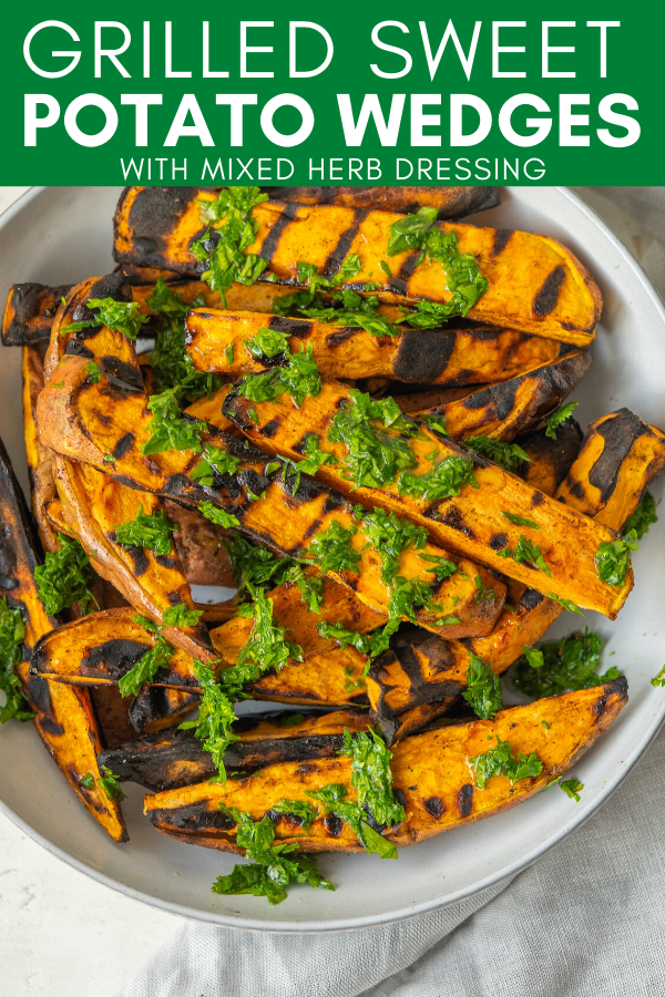 Image for pinning Grilled Sweet Potato Wedges recipe on Pinterest