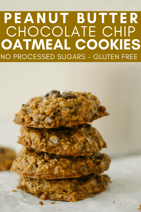 Image for Pinning Peanut Butter Chocolate Chip Oatmeal Cookies recipe on Pinterest