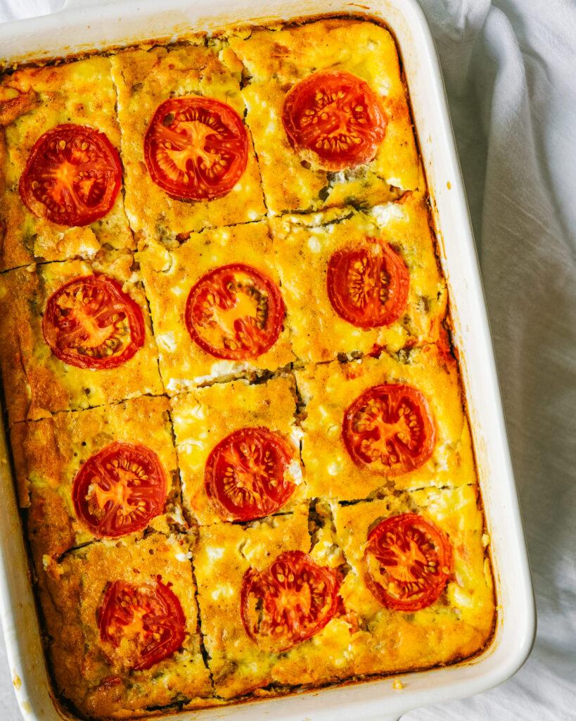 Turkey Sausage Tomato And Goat Cheese Breakfast Casserole