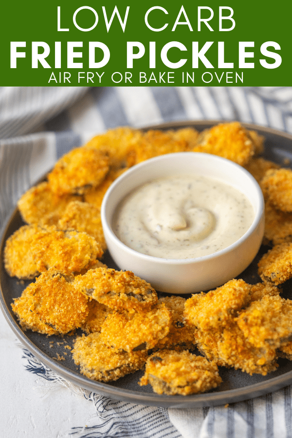 pinterest image for low carb fried pickles